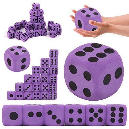 Wffo Specialty Giant EVA Foam Playing Dice Block Party Toy Game Prize Children Purple