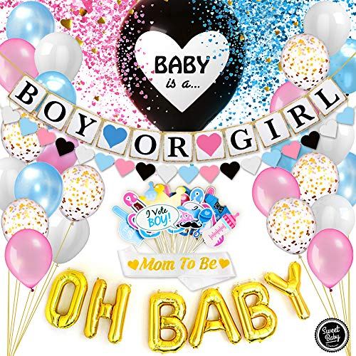 Sweet Baby Co Gender Reveal Party Supplies for Boy or Girl Shower Decorations Kit – Jumbo Black Balloon Confetti Banner OH Balloons Photo Props Sash Garland