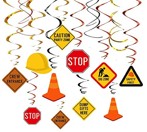 Kristin Paradise 30Ct Construction Hanging Swirl Decorations Traffic Zone Birthday Theme Streamers Under Site Party Supplies Kids Boy Toddler First Favors Stop Sign Road Worker Decor
