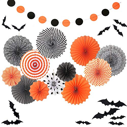 Sorive 12 Black Orange Party Hanging Paper Fans Ceiling Hangings Halloween Baby Shower Birthday Wedding Decorations12pc 3D Bat Wall Stickers Window Decor Supplies