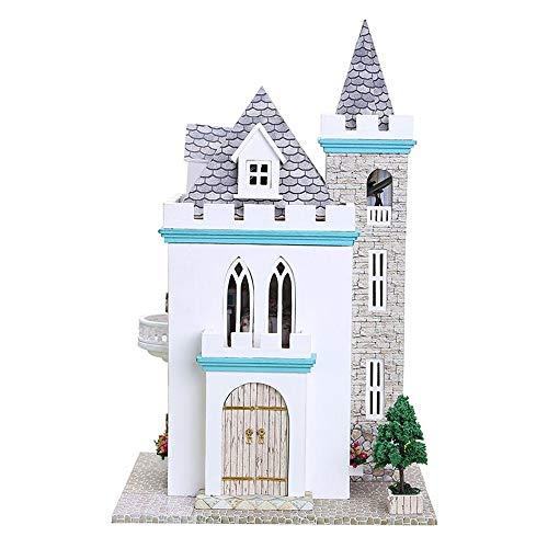 Wenini Dollhouse Girls 3D Wooden DIY Miniature House Furniture LED Puzzle Decorate Creative Multicolor