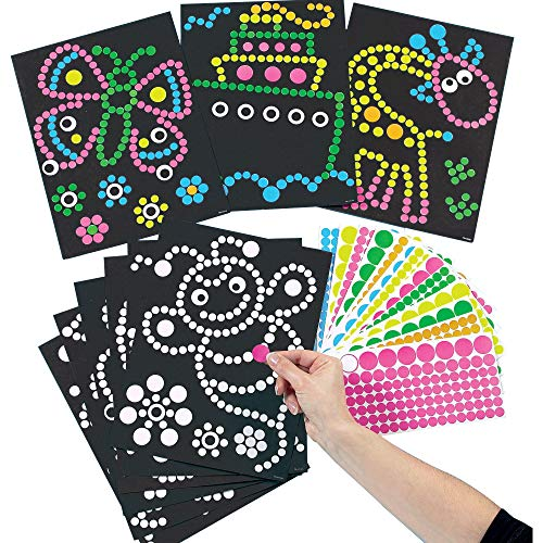 Baker Ross Dotty Sticker Art Pack of 8 for Kids to Decorate Arts and Crafts