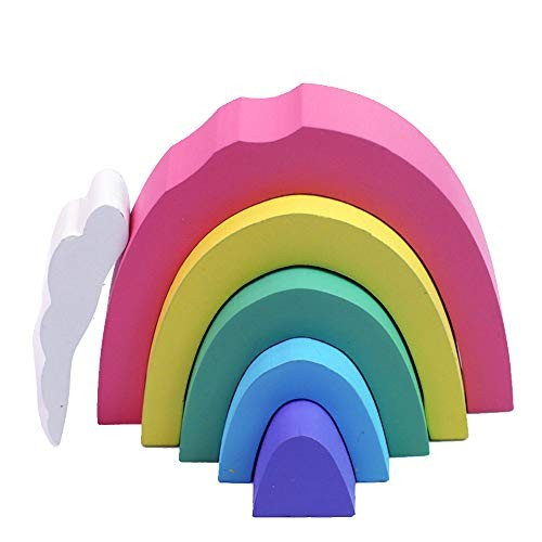 Keebgyy Wooden Rainbow Building Blocks Colorful Arched Creative Stacking Game Educational Toys Puzzle for Kids Baby Toddlers