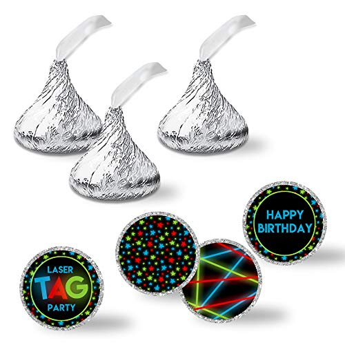 Laser Tag Birthday Party Kiss Sticker Labels 300 Circle sized 075 for Chocolate Drop Kisses by AmandaCreation Great Favors Envelope Seals & Goodie Bags