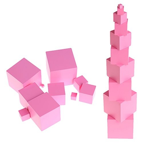 Poity Baby Education Toys Montessori Sensorial Materials Tower Family Set Wooden Building Blocks Toy Kid Pink