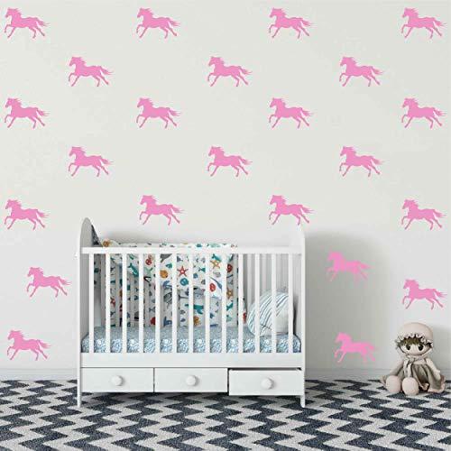 Melissalove 32pcs Set Metallic Equestrian Horse Wall Stickers Vinyl Decals Decor Kids Room Living Wallpaper Removable Mural SA525 Light Pink