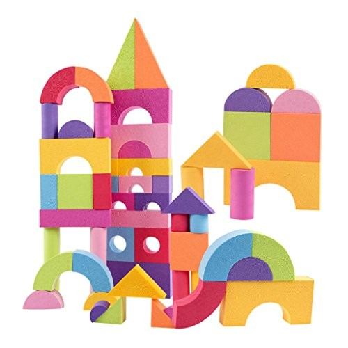 Colorful EVA Foam Building Blocks Kids Toddler 3D Construction Stacking Toy – 50 pcs