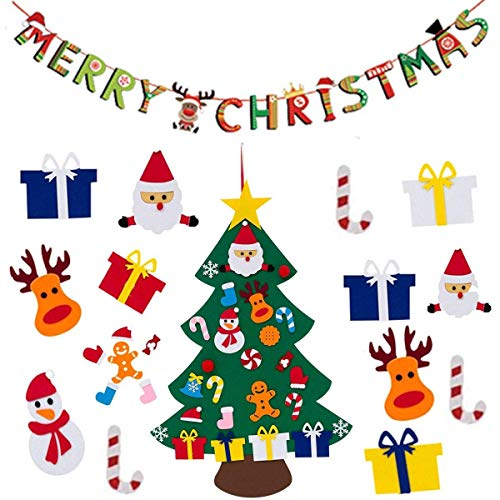 PINCHUANG Felt Christmas Tree for Kids with Hanging Banner Wall xmas Gifts Decorations E