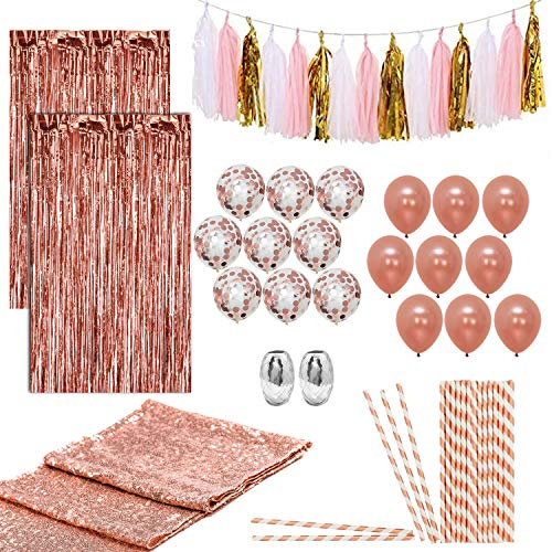 Artunique 63pc Rose Gold Party Decorations Kit Huge Latex and Confetti Balloons 18 Sequin Table Runner 1 Fringe Curtain 2 Ribbon Paper Straws 25 Tassle Garland 15