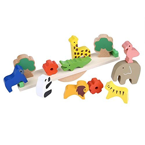 Balance Game Wood Learning Toy Early Educational Stacking Forest Animals Plants Block Toys Building Tool Props Children Birthday Festival Gift Kids Playing Set
