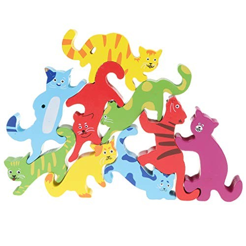 Flameer Baby Preschool Kindergarten Wooden 9pcs Animal Cat Tiger Blocks Stack Game Child Play Activity Toy xmas Gift
