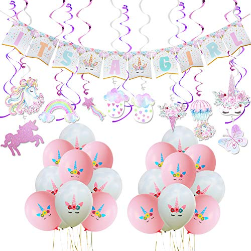 WERNNSAI Unicorn Baby Shower Decorations – Magical Party Supplies Kit for Girl Including ITS A BannerPink White Latex Balloons Ribbons Hanging Swirl 53 PCS