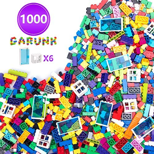 GARUNK Building Bricks 1000 Pieces Set Classic Blocks in 11 Colors with Windows and Doors Compatible All Major Brands for Ages 3 Year Old Boys & Girls