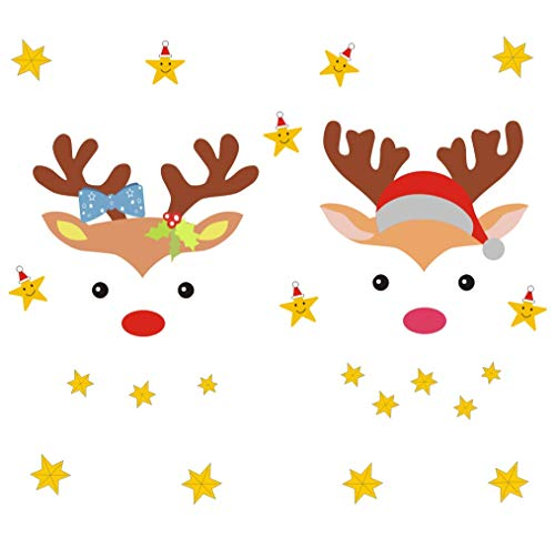IARTTOP Christmas Reindeer Wall Decal Lovely Stars Sticker for Kids Room Decor Home Cling
