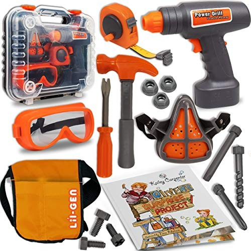 Li'l-Gen Kids Tool Set with Book 16 Pieces Tools Plus Case – Includes Oliver's Surprise Project Pretend Play Toys for Boys and Girls Age 3+
