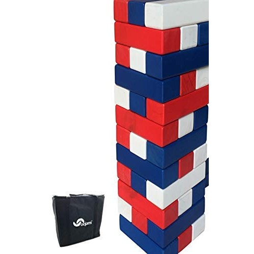 Stack it Giant Colorful Tumbling Timbers Comes with Large Dice & Storage Bag