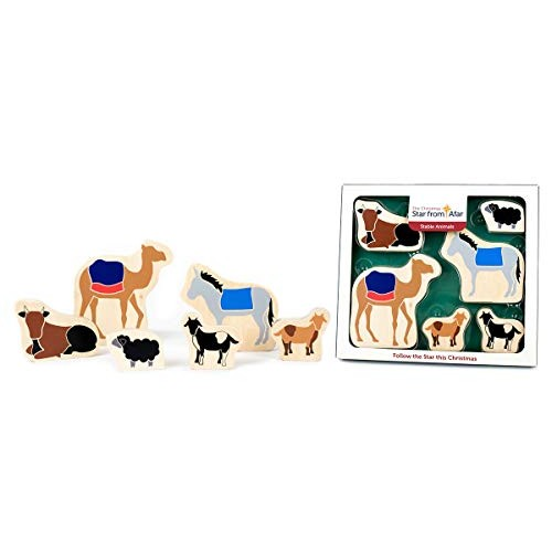 Star From Afar Stable Animals – Christmas add on Colorful Wooden Toys Great Christian or Catholic Gift for Children