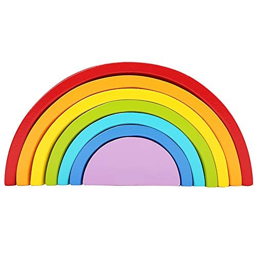 Wooden Rainbow Stacking GameWooden Nesting Puzzle Learning Toy Geometry Building Blocks Educational Toys for Kids and Toddlers