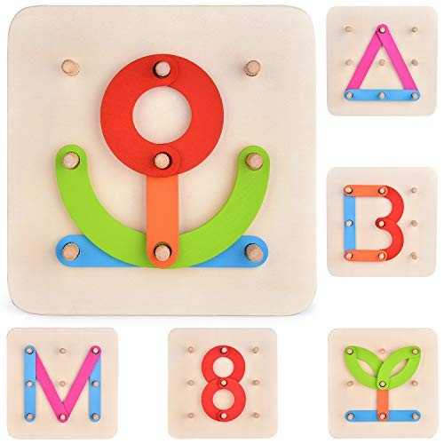 FUN LITTLE TOYS 27 PCs Preschool Learning Stacking Blocks Wooden Letters Number Shape Puzzles for Kids Educational Letter Board Set Boys & Girls
