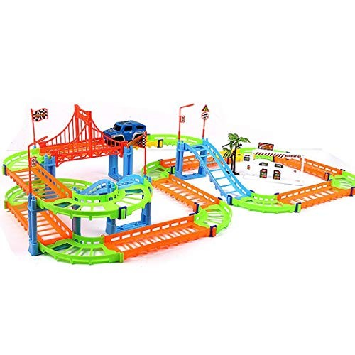 sholdnut 73pcs/Set Kids Assembling Toy Double Layers Electric Urban Track Car Play Vehicles (Multicolor)