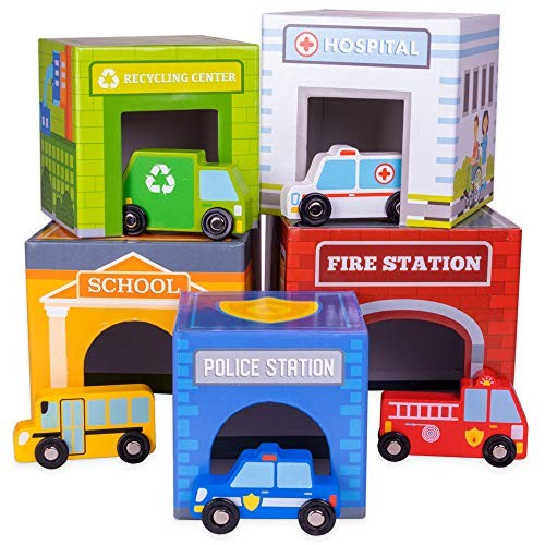 Wooden Match and Stack Little City Nesting Box Set – Great Developmental Toy