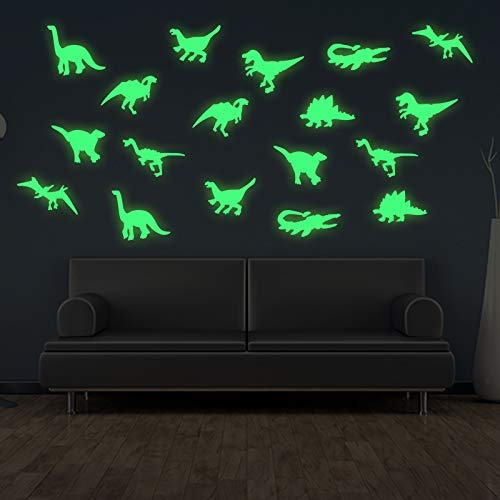 45 pcs Dinosaurs Luminous Wall Stickers3D Glow in Dark Decorative for Baby Children Room Decals