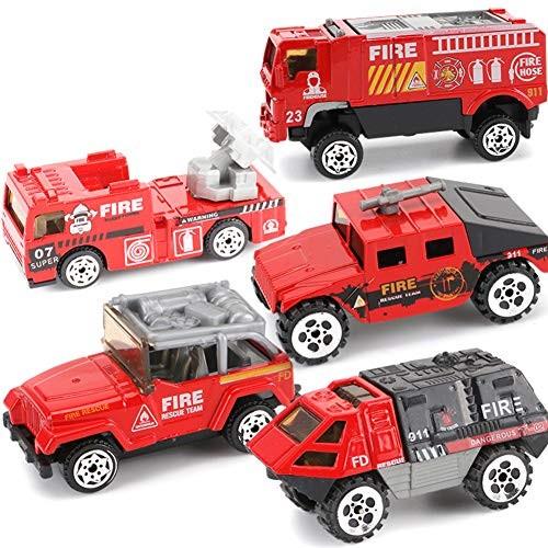 xuBa 5Pcs Set Mini Alloy Engineering Car Model Tractor Toy Dump Truck Classic Vehicles Fire Set Birthday Present for Kids