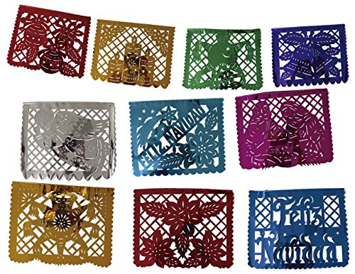 Mexican Papel Picado xmas Banner – Metallic Plastic 16 ft Handcrafted Christmas Decoration Multicolored 10 Individuals Panel Party Supplies For Weddings Birthdays Quinceaneras & Holidays