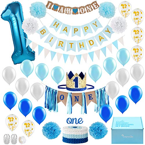Baby Boy 1st Birthday Decorations With Crown First Cake Smash Party Supplies Happy And Highchair One Burlap Banner Number Balloon Topper Educational Toys Planet