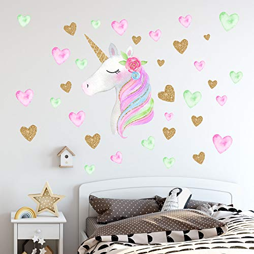 Unicorn Wall DecalsUnicorn Sticker Decor with Heart Flower Birthday Christmas Gifts for Kids Bedroom Nursery Room Home A-Unicorn