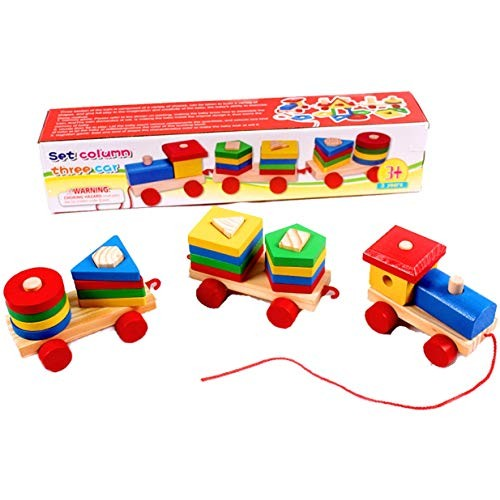 TRUSTRADE Set Column Three CAR CHILDREEN Early Educational Geometric Matching Shape Building Vehicle Block Wooden Toy