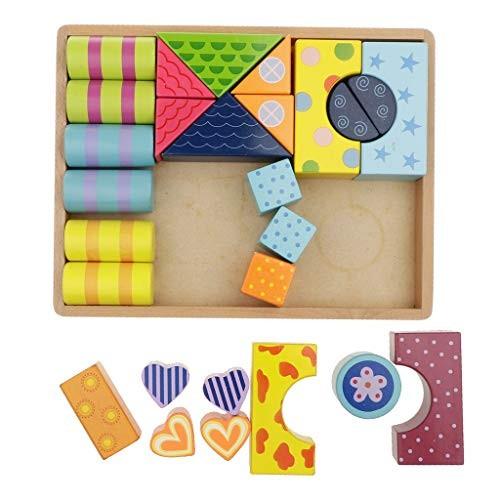 Flameer Children's Wooden Stripe Pattern Building Blocks with Solid Storage Tray Holder Kids Development Toy Gift