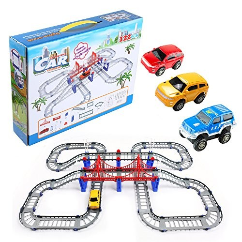 WGS Adventurous Battery Operated Car and 122 Piece Flexible Toy Race Car Track Play
