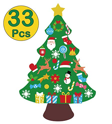 jollylife 3ft DIY Felt Christmas Tree Set – xmas Decorations Wall Hanging 32 Ornaments Kids Gifts Party Supplies