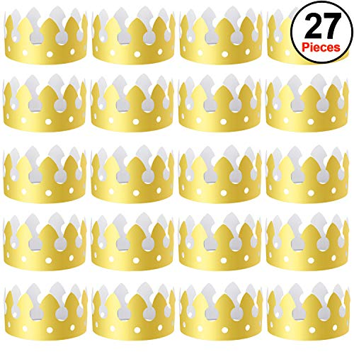 SIQUK 27 Pieces Gold Paper Crowns Party King Crown Hats for Birthday and Celebration