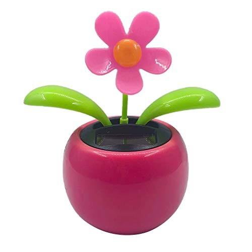LOVIVER Solar Powered Car OrnamentCreative Plastic Power Flower Ornament Pot Swing Kids Toy – Pink
