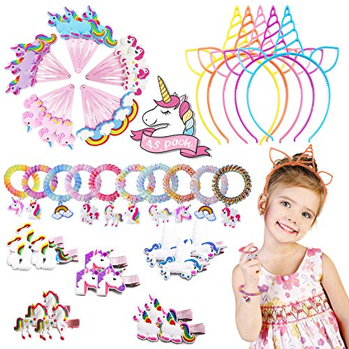 Unicorn Party Favors Cute Headband Hair Accessories Clip Supplies – Pins Alligator Clips Barrettes Plastic Elastics Spiral Ties Headdress Gift Set 45 Pack