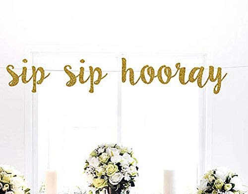 Astra Gourmet Sip Hooray Gold Glitter Banner Bridal Shower Party Decorations Photo propd Wedding Celebrate Birthday Holiday Baby