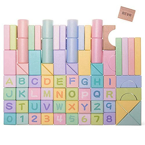Children's Toys 80 Pieces of Colored Puzzle Blocks Early Education Wooden Spelling Boxed Building Children Over 3 Years Old