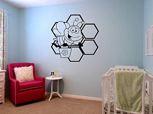 Dalxsh Cute Bee Honey Honeycomb Wing Nursery Vinyl Wall Stickers for Kids Rooms Pattern Art Decor Decal Animals Home Decorate 57x56Cm
