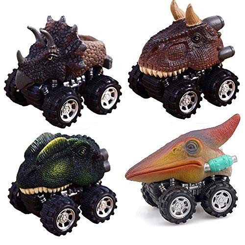 Pull Back Car 4 Pcs Children Animal Gift Toy Dinosaur Model Mini Toy Car