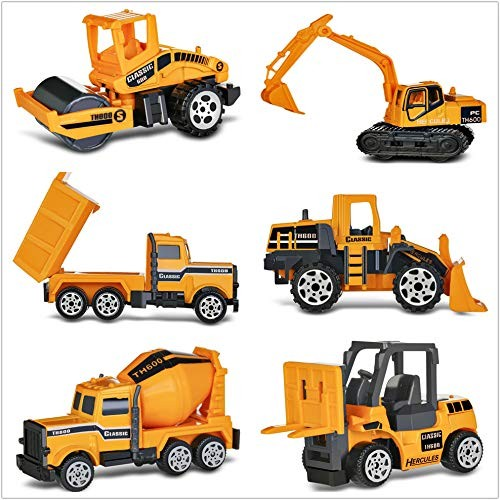 BISOZER Alloy Construction Engineering Truck Models Mini Pocket Size Play Vehicles Cars Toy for Kids Toddlers Boys 6pcs Set