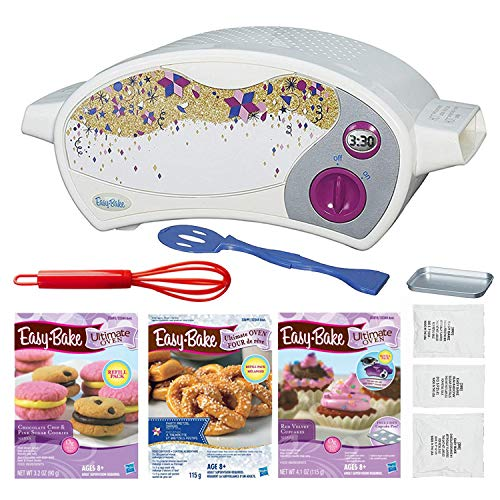 FIVE DEALS Easy Bake Oven Star Edition + Chocolate Chip and Pink Sugar Refill Red Velvet Cupcakes Party Pretzel Pack Mini Whisk