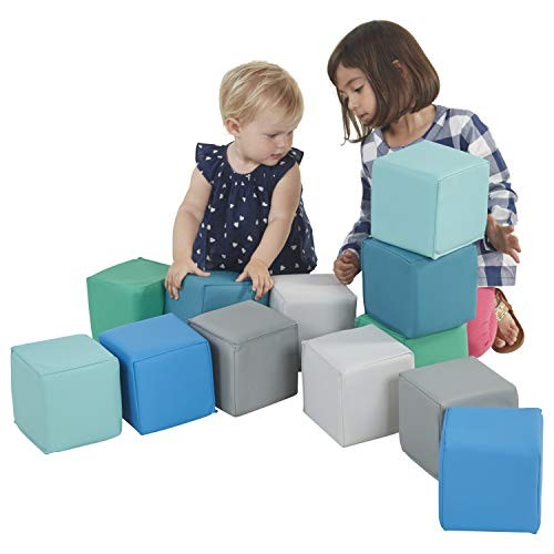 ECR4Kids SoftZone Patchwork Toddler Block Playset Gentle Foam Blocks for Safe Active Play and Building Built to Last Certified 12-Piece Set Contemporary