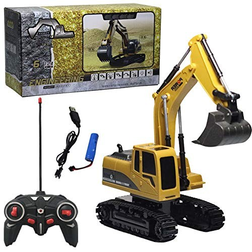 Gbell RC Engineering Excavator Construction Truck Toy 1 24 Scale Heavy Metal Diecast Remote Control Model Die Cast Tractor Vehicle for Kids Yellow
