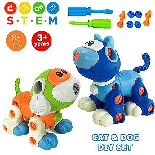 Liberty Imports Take Apart Toys Cat and Dog Models STEM Building Blocks – Kids DIY Creative Educational Construction Engineering Kit with Screwdriver 88 Pieces