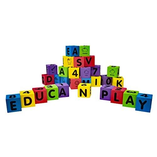 Alphabet and Numbers Square Block Foam Set Plus Free Bonus 1 Educational Flash Card Design May Vary
