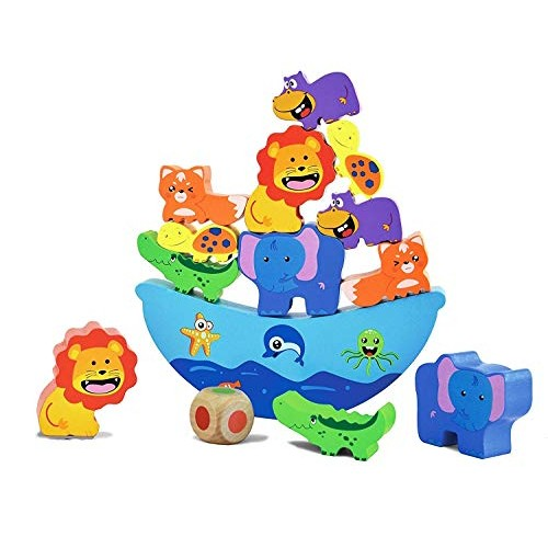 Cottontail Fun Stack and Balance Animals Boat Wooden Blocks