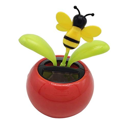 Fityle Solar Powered Bee Flower Sunflower Dancing Swing Doll Toy Home Decor Car Ornament Flowerpot Figure Gifts – Red