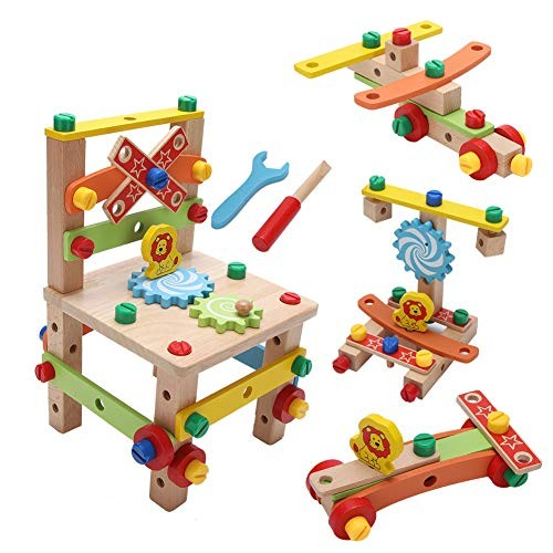 Yosooo Wooden Construction Toy 2 Types New DIY Wood Disassembly Chair Tool Nut Assembly Children Puzzle Toys Blocks Building Set A
